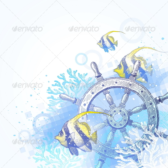 GraphicRiver Underwater Scene with Hand Drawn Elements 4948217