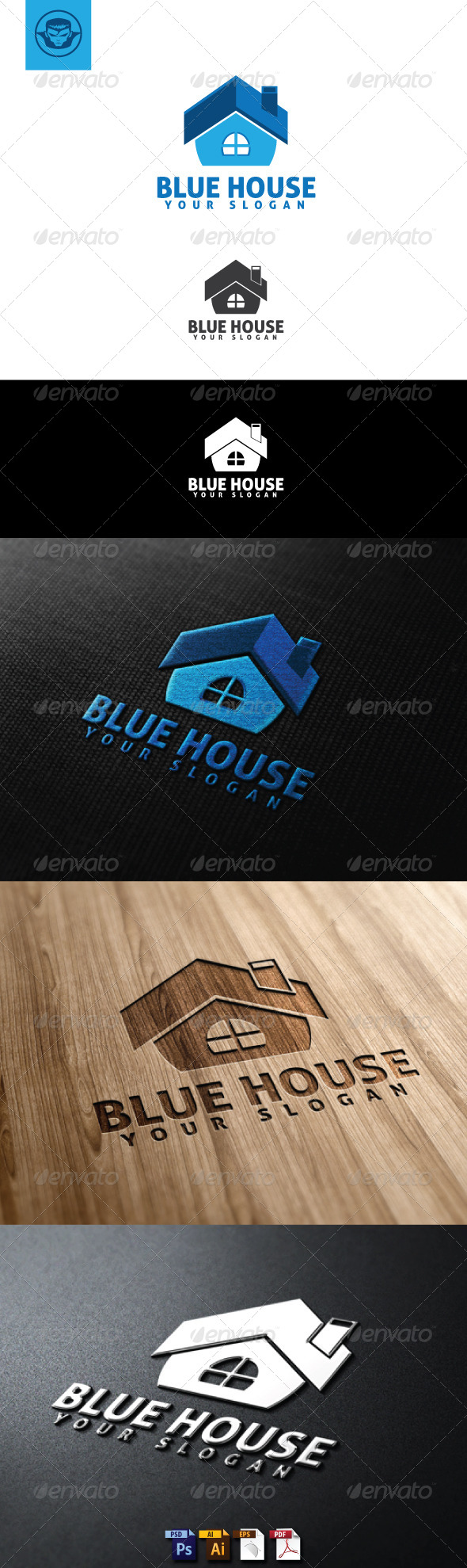 GraphicRiver Blue House Logo Template 4948466