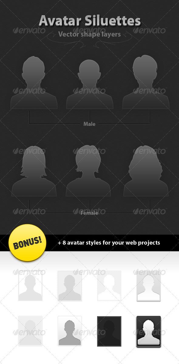 GraphicRiver 6 Avatar Siluettes Vector 510797