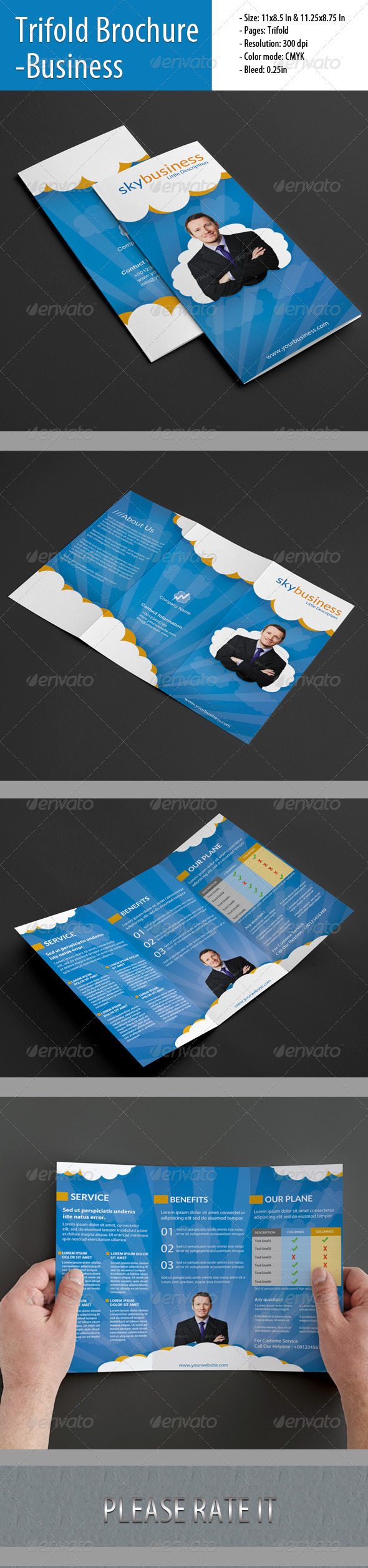 GraphicRiver Trifold Brochure For Business 4803777