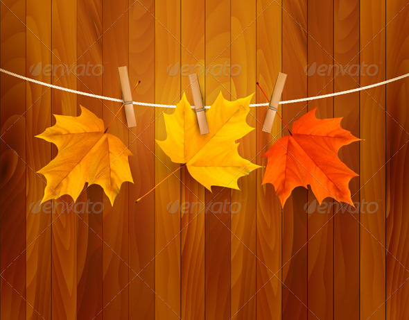 GraphicRiver Autumn Background with Leaves Vector 4949760