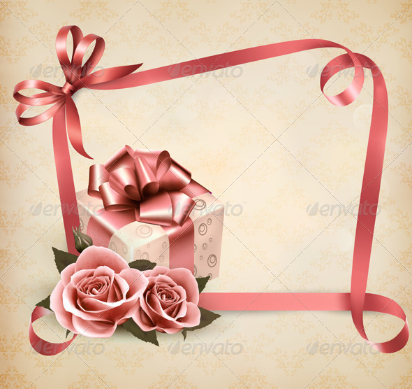 GraphicRiver Holiday Background with Pink Roses and Gift Box 4954435