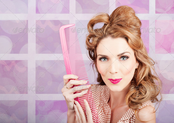 Beautiful hairstyle model with beauty hair comb - Stock Photo - Images
