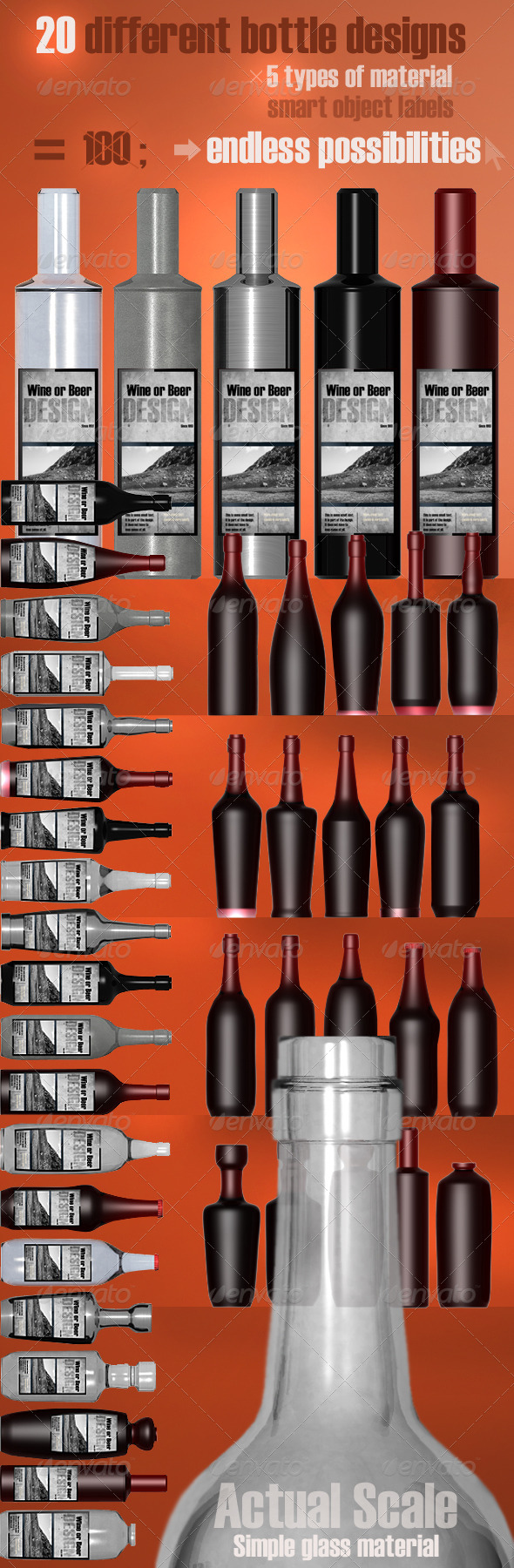 GraphicRiver 20 Bottle Designs Bundle 511477