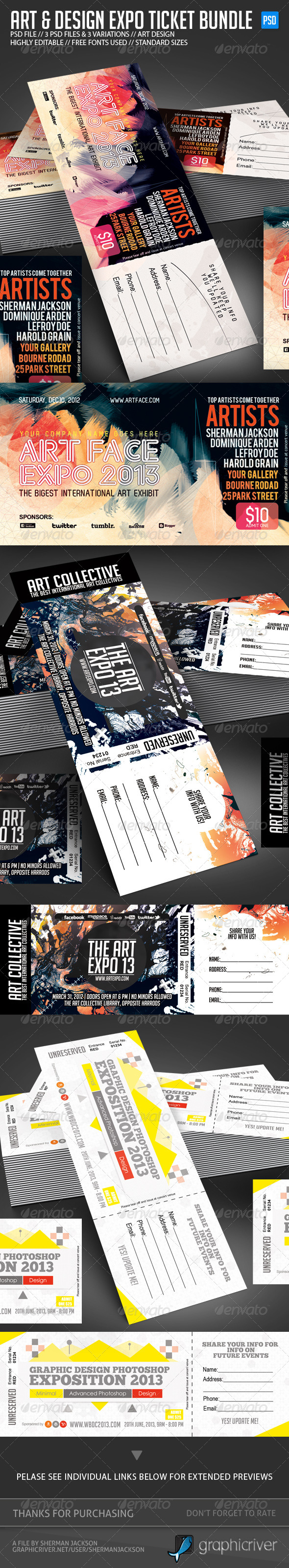 GraphicRiver Design & Art Expo Show Passes Tickets Bundle 4959143
