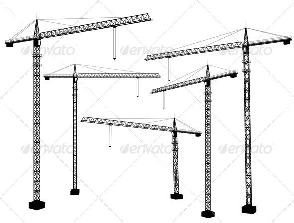 GraphicRiver Crane Silhouettes 4960403