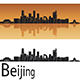 Beijing Skyline in Orange Bzckground - GraphicRiver Item for Sale