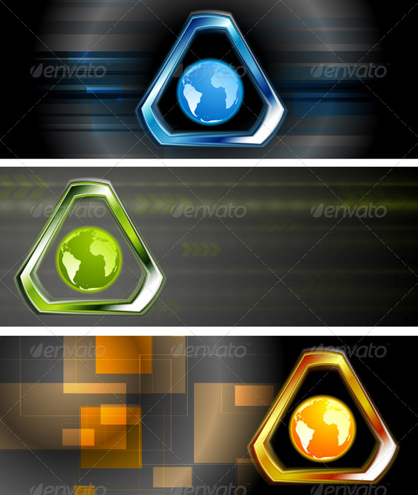 GraphicRiver Abstract Hi-Tech Vector Banners 4961182