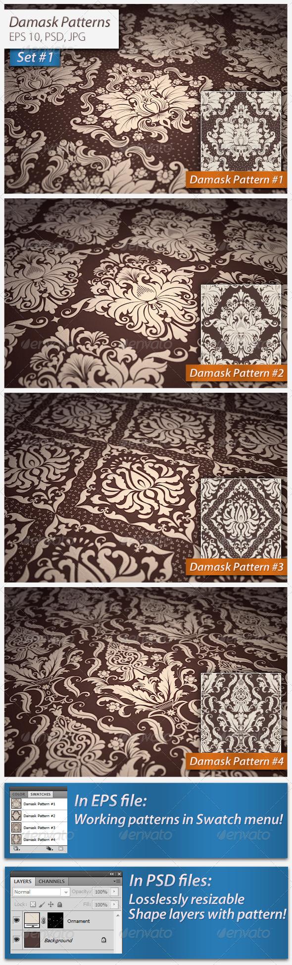 GraphicRiver Seamless Damask Patterns Set#1 4962847