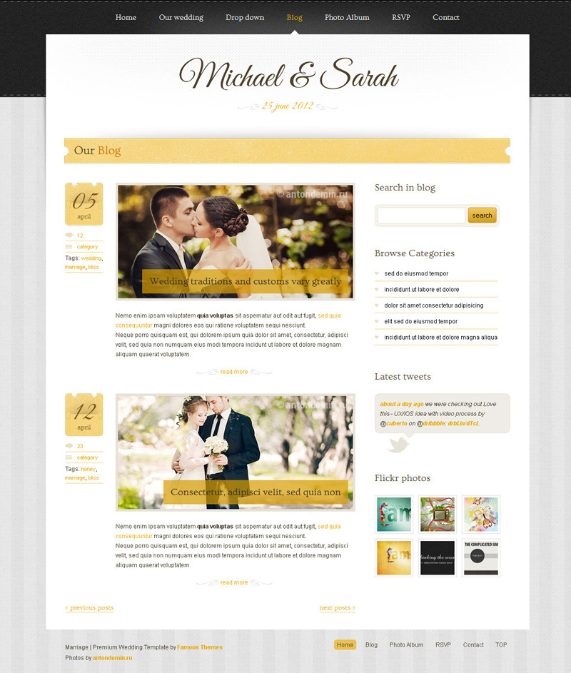 Marriage - Responsive Wedding Wordpress Theme - ��blog page design