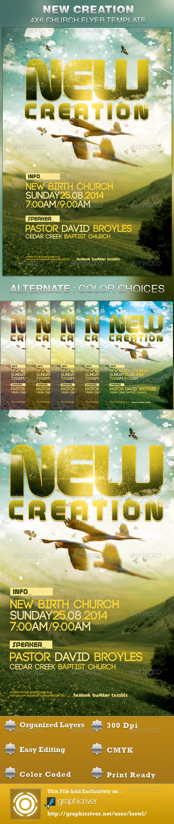New Creation Church Flyer Template - Church Flyers