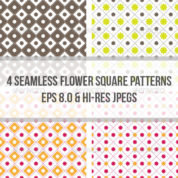 GraphicRiver Flower Square Seamless Pattern Background 4964317