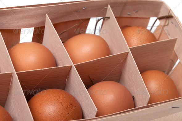 Brown eggs in eco-box - Stock Photo - Images
