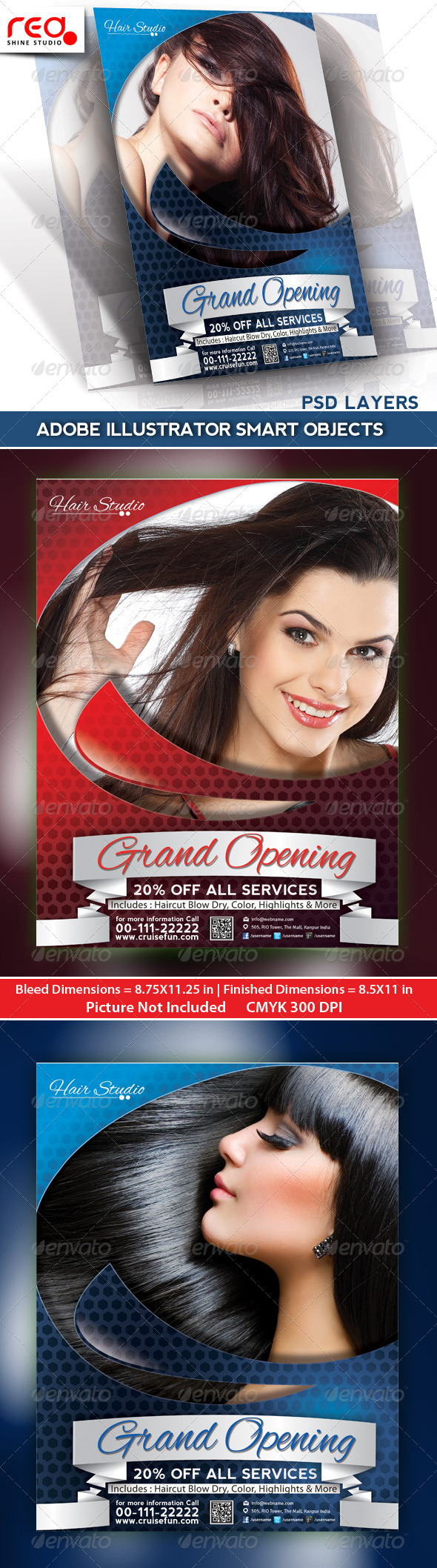 GraphicRiver Hair Dresser Flyer Poster Magazine Template 4966832