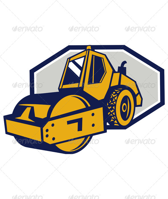 GraphicRiver Flat Drum Road Roller Retro 4967696