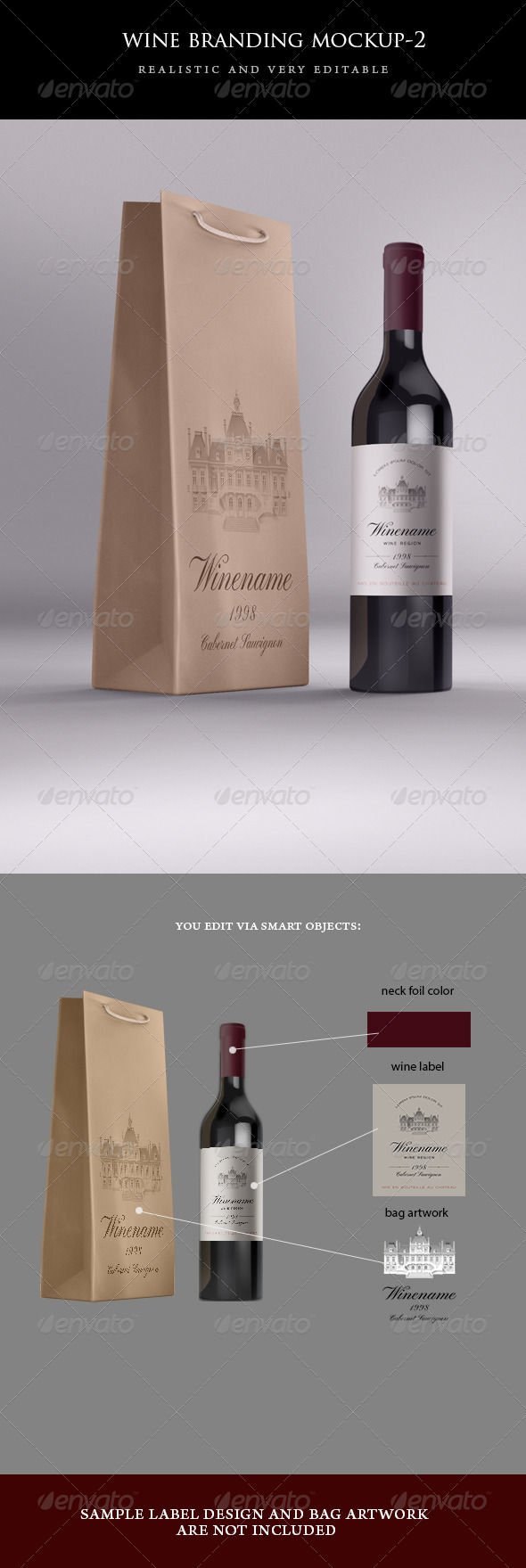 Wine Bag and Bottle Mock-up - Food and Drink Packaging