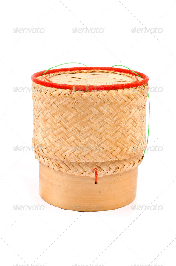 Thai Lao Original Handwoven Bamboo Sticky Rice - Stock Photo - Images