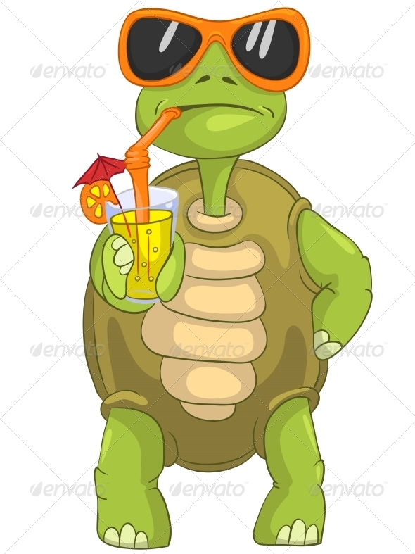 GraphicRiver Turtle Drinking Cocktail 4968616