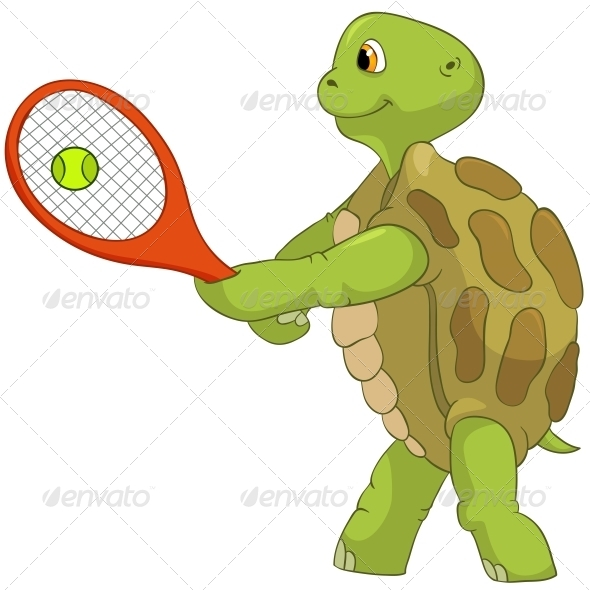 GraphicRiver Turtle Tennis Player 4968658