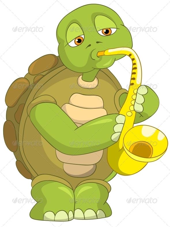 GraphicRiver Turtle Saxophonist 4968741