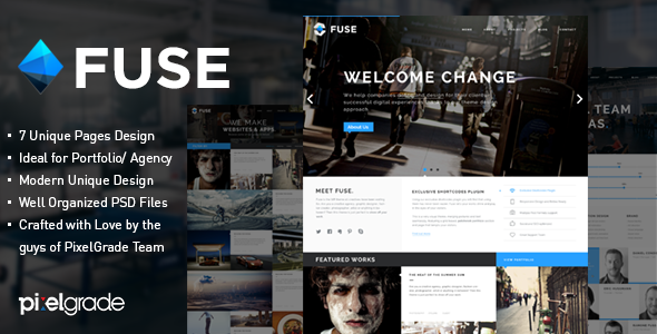 ThemeForest Fuse Portfolio and Small Agency PSD Template 4970935