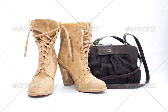 Suede boots and gray handbag - Stock Photo - Images
