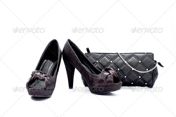 Black shoes- black handbag - Stock Photo - Images