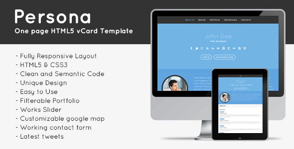 Persona Responsive HTML5 Vcard Template - Virtual Business Card Personal