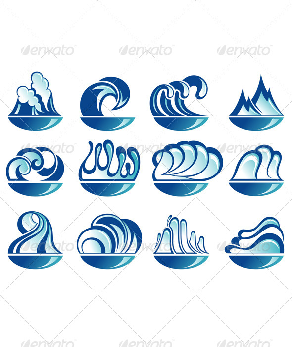 GraphicRiver Set of Wave Symbols 4973188