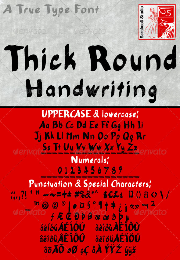 GraphicRiver Thick Round Handwriting Font 4938817