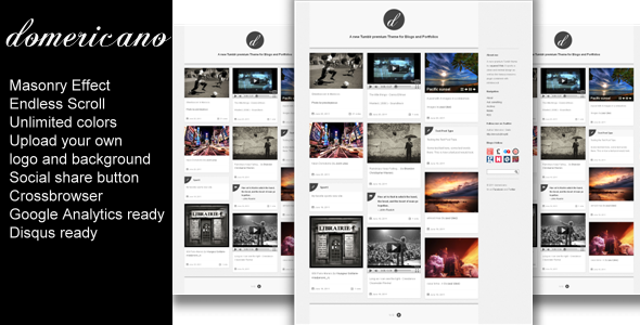 Domericano - Minimal Tumblr Blog / Portfolio Theme