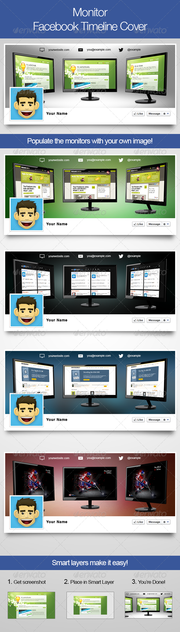 GraphicRiver Monitors Facebook Timeline Cover 4919320