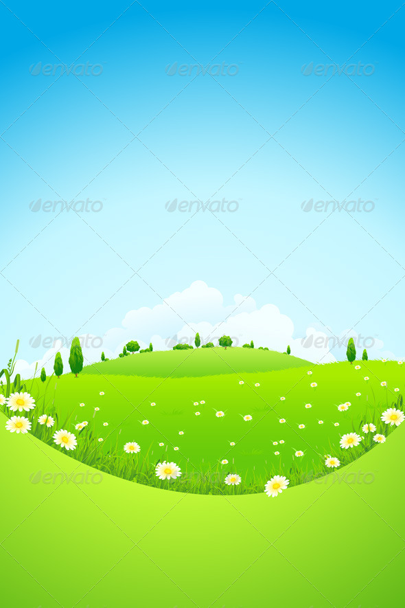 Landscape with Green Trees and Fields - Landscapes Nature