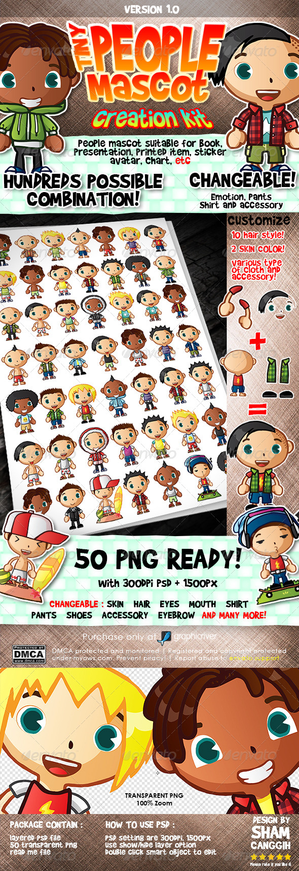 Tiny People Mascot Creation Kit : Male - Characters Illustrations