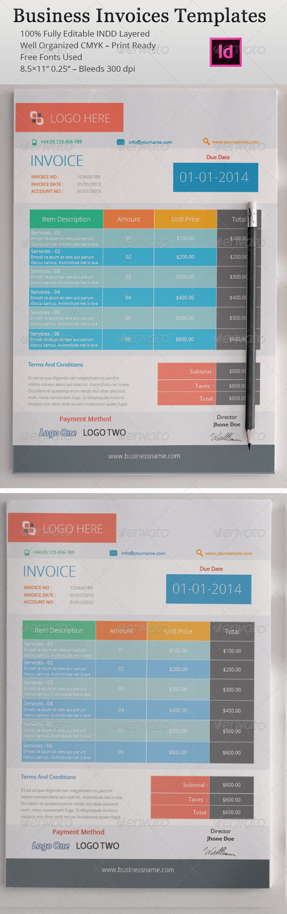 GraphicRiver Business Invoices Templates 4907688