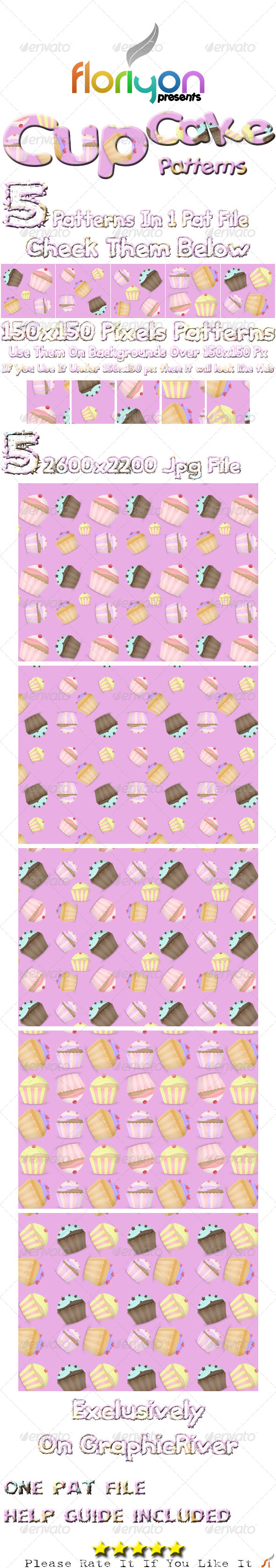 GraphicRiver Cup Cake Patterns 4975695