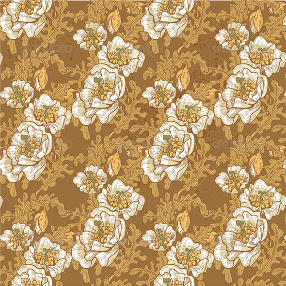 GraphicRiver Seamless Pattern of Vintage White Poppies 4975888