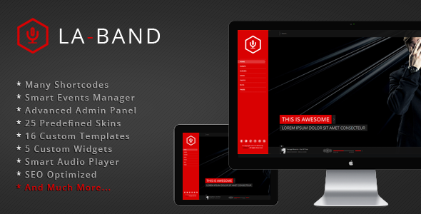 ThemeForest LA-BAND Music Band Premium WordPress Theme 4968860