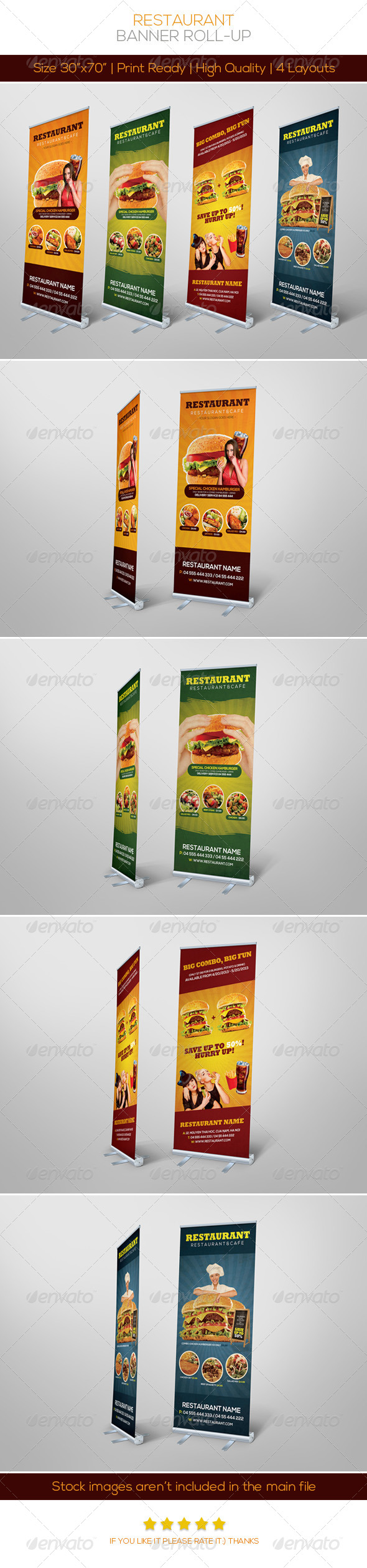 Premium Restaurant Banner Roll-up - Signage Print Templates