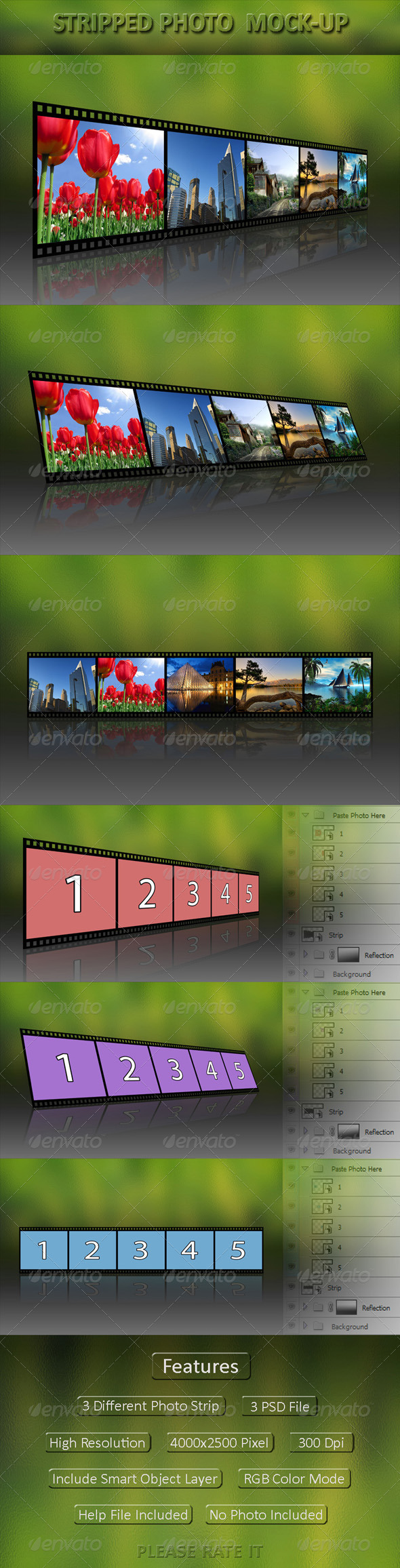 GraphicRiver Stripped Photo Display Mock-Up 4977569