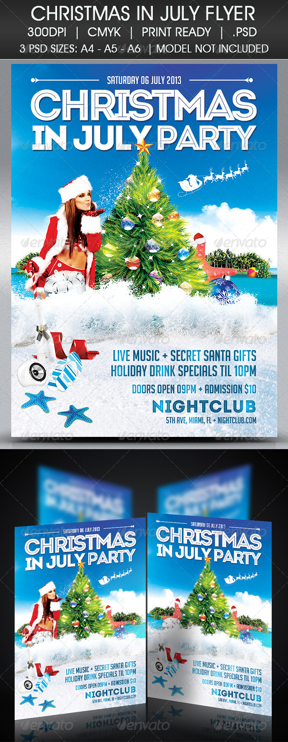 GraphicRiver Christmas In July Flyer 4977713