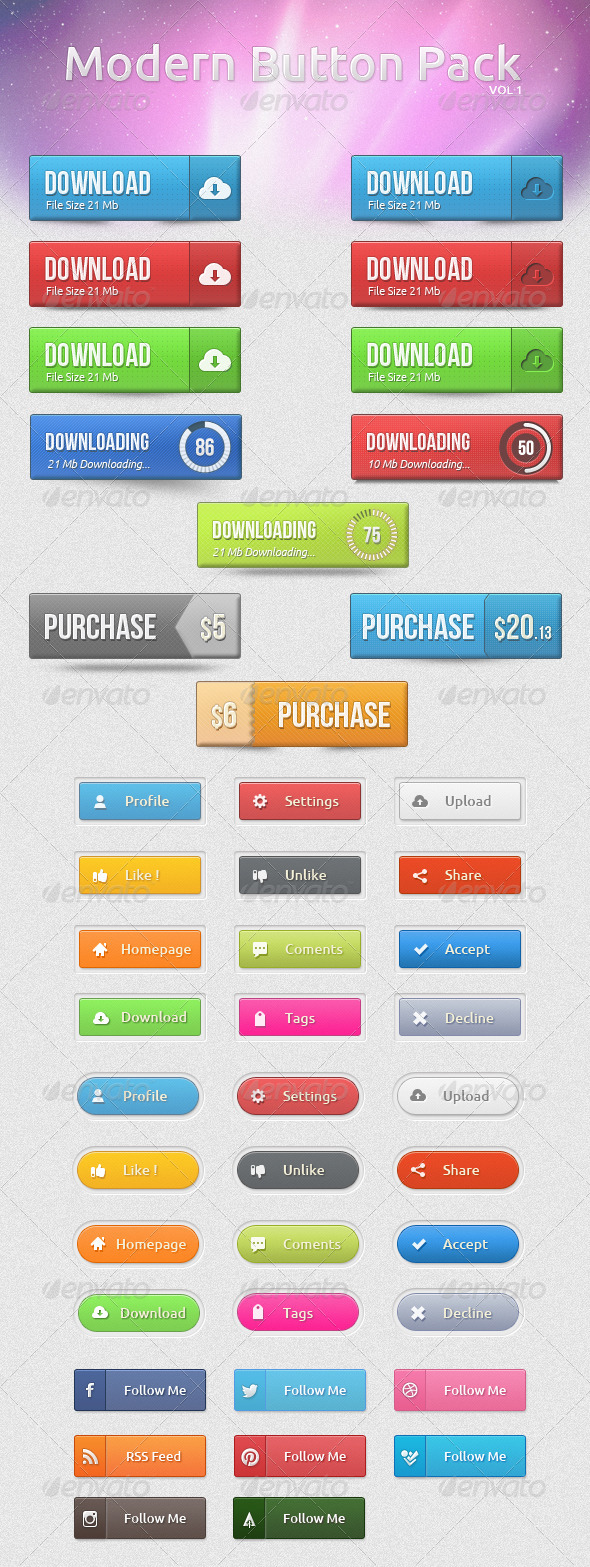 GraphicRiver Modern Button Pack 4978339