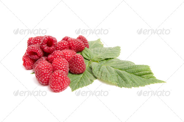 Juicy,ripe raspberries on a white. - Stock Photo - Images
