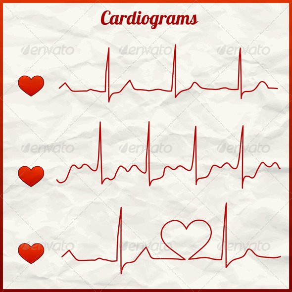 GraphicRiver Set of Cardiograms 4980363