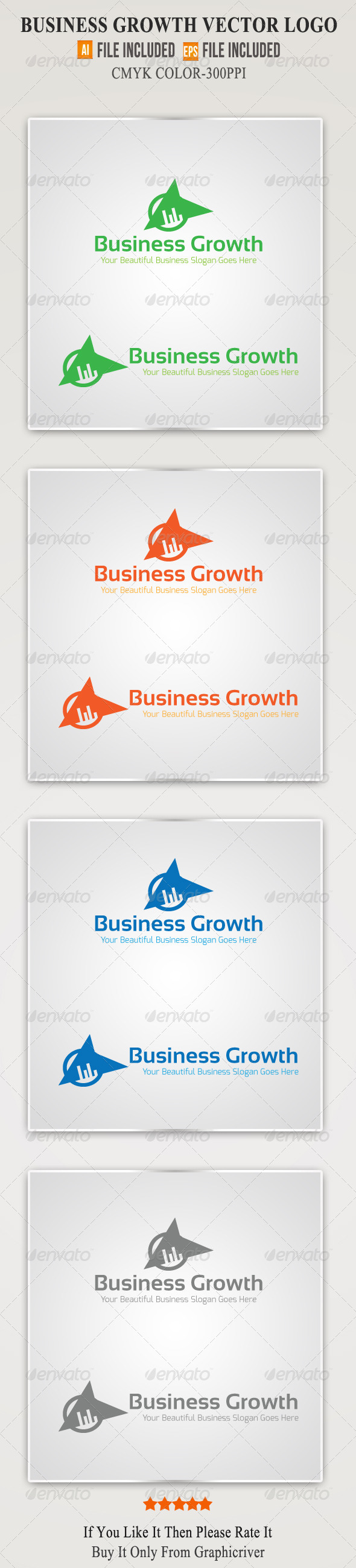 Business Growth Vector Logo Template 2 - Symbols Logo Templates