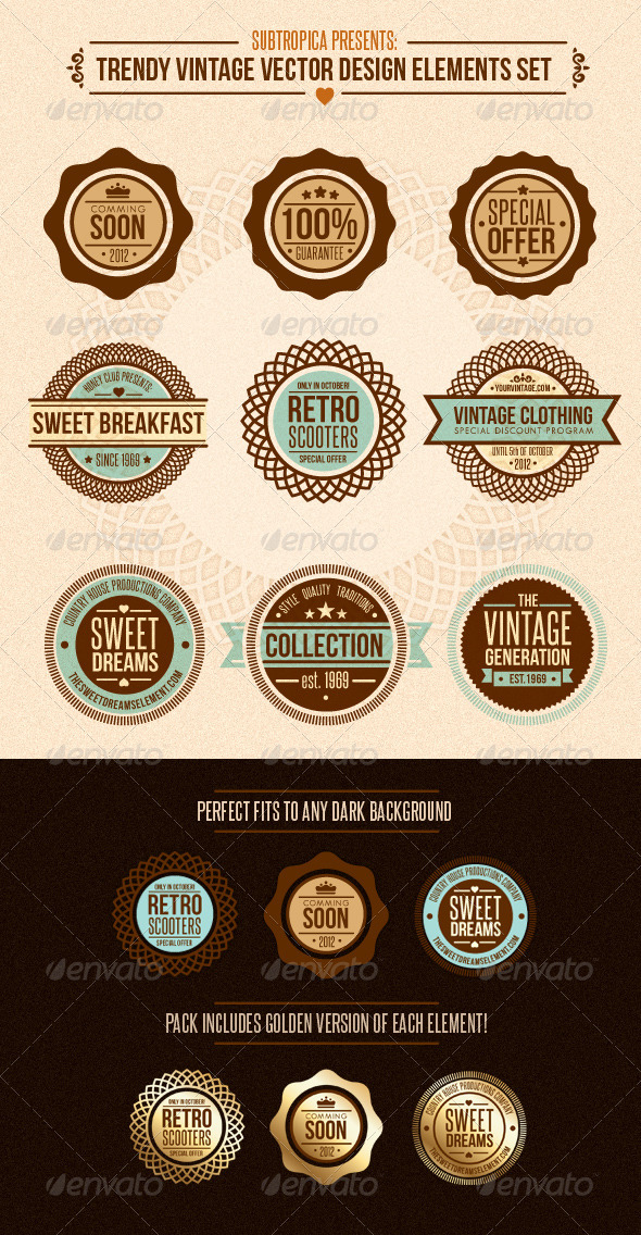Trendy Vintage Vector Design Elements Set - Retro Technology