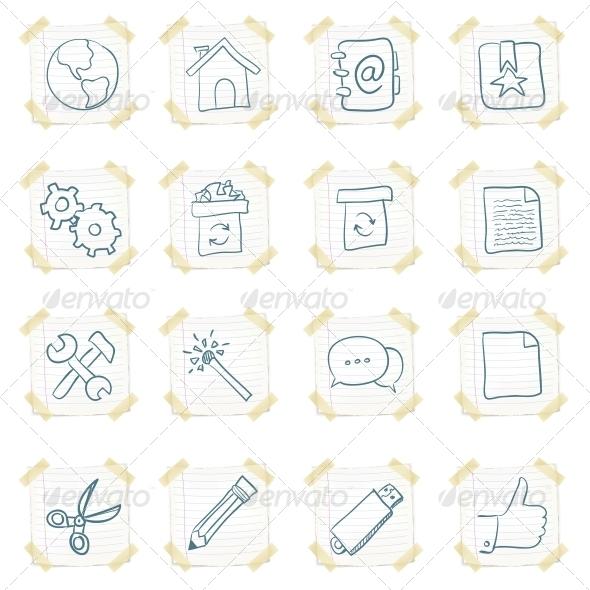 GraphicRiver Sticker Icon Set 4983327
