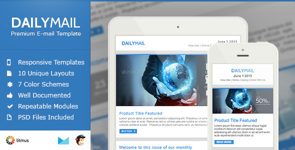 Daily Mail - Clean & Responsive Email Template  - Newsletters Email Templates