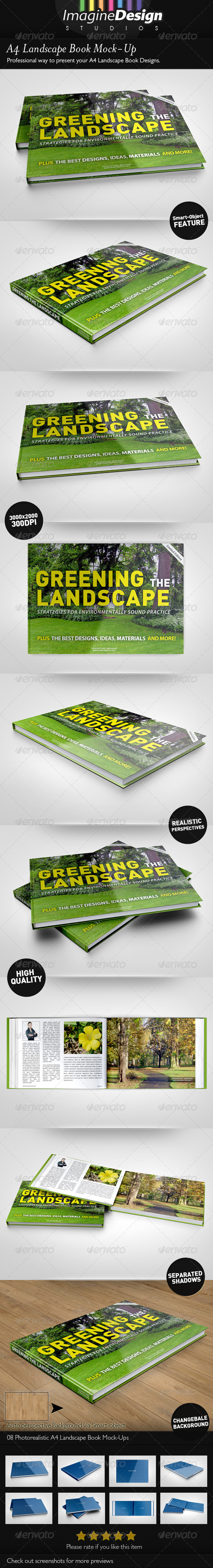 A4 Landscape Book Mock-Up  - Books Print