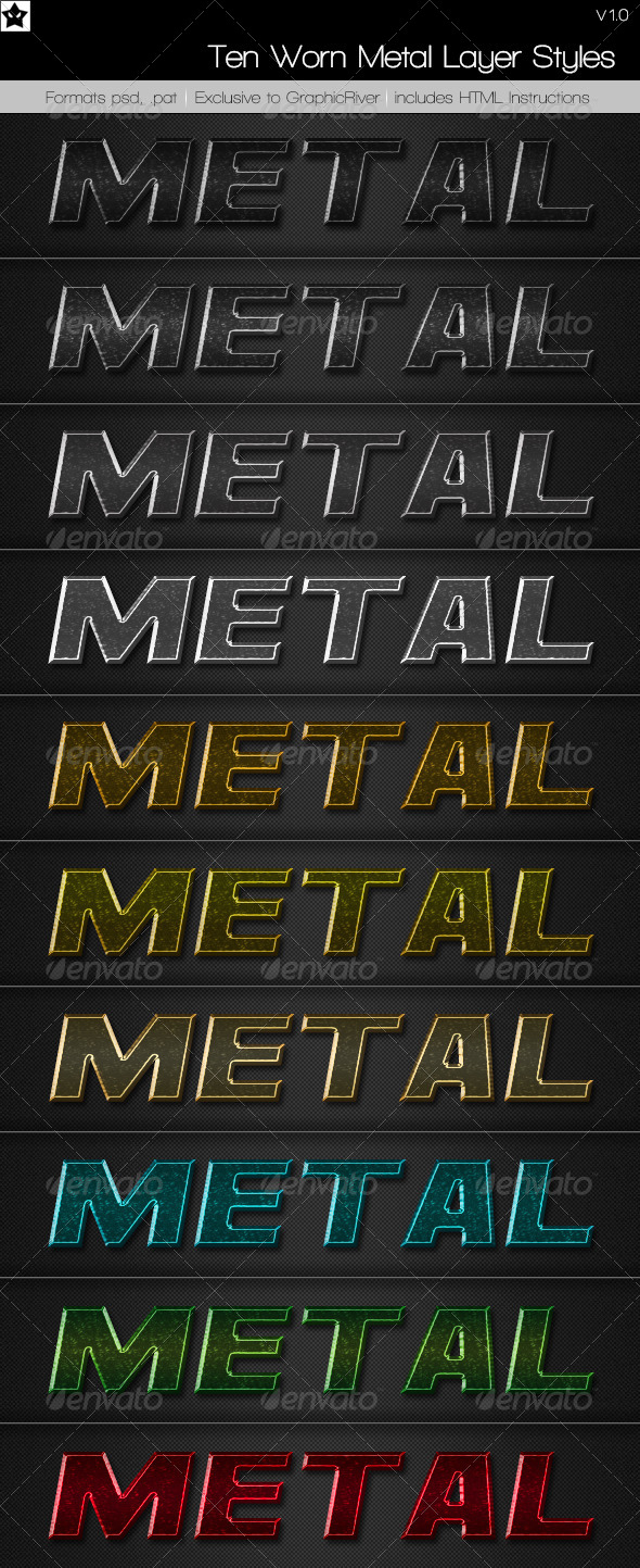 GraphicRiver Ten Worn Metal Layer Styles 4985378